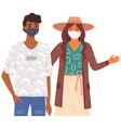 african man and woman are wearing medical masks vector image vector image