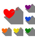 arrow heart sign set of red orange yellow vector image
