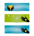 banners templates with hands and hearts vector image vector image