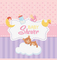bashower card with little bear teddy and vector image vector image