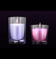 burning candles in glass jars set isolated clipart vector image