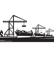 cargo ships at industrial port vector image vector image