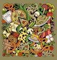 cartoon color doodles italian food vector image vector image