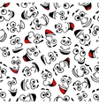Cartoon laughing faces seamless pattern background vector image vector image