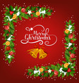 christmas bell greeting card with garland corner vector image vector image