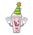 clown raspberry bubble tea character cartoon vector image vector image
