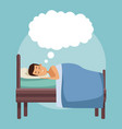 colorful scene man dreaming in bed at night with vector image vector image