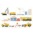 construction site elements material piles sand vector image vector image
