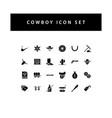 cowboys icon set with black color glyph style vector image vector image