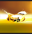 eps 10 gold olive or engine oil splash 3d vector image