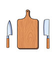 flat cutting board cleaver carving knifes vector image
