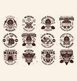 gold mining industry set vintage emblems vector image vector image