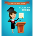 Graduate woman near tribune vector image vector image