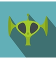 Green alien head flat icon vector image