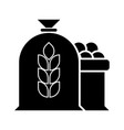 harvest wheat apple bag icon vector image vector image