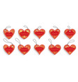 heart shape floral gold red label frame tag set vector image vector image