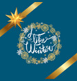 i like winter poster in frame made of snowflakes vector image