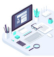 isometric office workspace concept vector image vector image