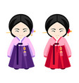 korean girls in hanbok vector image