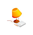 lamp and book pencil isolated on vector image