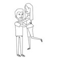 man carrying woman characters vector image