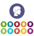 Man head set icons vector image