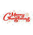 merry christmas red ornate handwritten calligraphy vector image