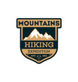 mountains hiking vintage isolated badge vector image