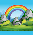 nature forest view with rainbow in sky scene vector image