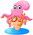 octopus on top of the human head vector image