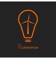 Orange bulb with wind turbine on black vector image vector image