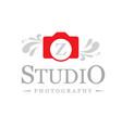photographic studio logo design with typographic vector image