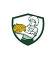 Pizza Chef Holding Pizza Shield Retro vector image vector image