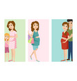 pregnancy motherhood people expectation cards vector image vector image