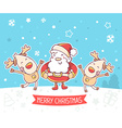 santa claus and dancing reindeers with re vector image