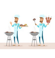 set happy man in chef hat grilling meat on bbq vector image vector image