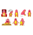 set of cute pink monsters vector image vector image