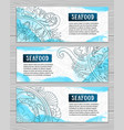 set of seafood doodle style banners vector image