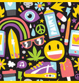 summer weed vibes cartoon hipster objects seamless vector image