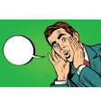 Surprised emotional pop art retro business man vector image vector image