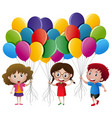 three kids holding balloons vector image