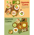 Traditional japanese seafood dishes flat icon vector image vector image