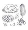 turkey dish and corn maize isolated icons vector image vector image