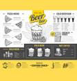 vintage beer menu design restaurant menu vector image