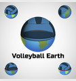 volleyball ball earth vector image vector image