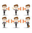 young businessman with a megaphone set vector image vector image