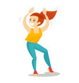 young caucasian white woman dancing vector image
