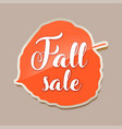 fall sale banner with red fall aspen tree leaf vector image
