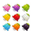 colorful flowers icons set vector image