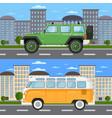 off road car and retro bus in urban landscape vector image